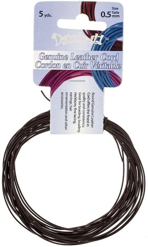 Dazzle-It Genuine Leather Cord .5mm Round 5yd-Brown