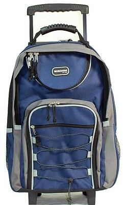 "20"" Navy Blue Large Rolling Backpack Wheeled School Bookbag Travel Carry-On Bag"