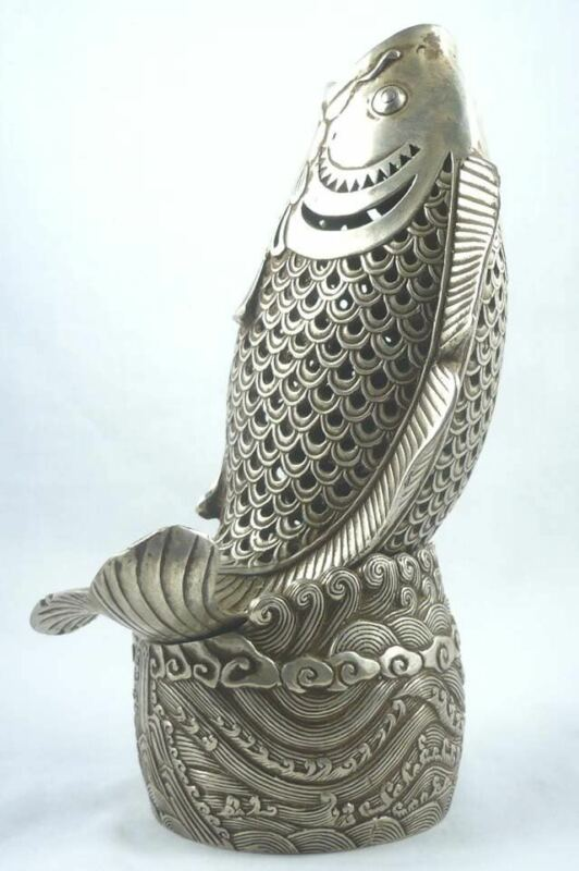 rare Oriental Tibet silver lifelike fish figure Old incense censer