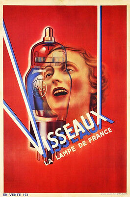 1930s Visseaux Vintage French Vacuum Tube Ad Poster 13 x 19 Giclee Print