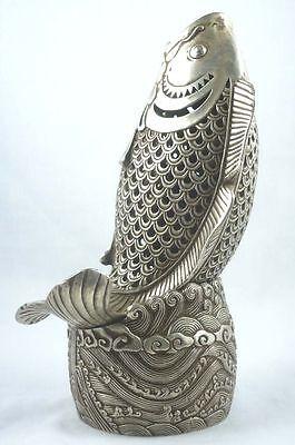 Rare Oriental Tibet silver lifelike fish figure incense censer h:20cm