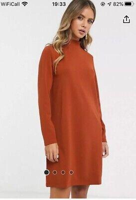 Asos Jacqueline De Yong Burnt Orange/rust Coloured High Neck Dress Size Small