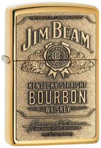 Zippo High Polished Brass Lighter With Jim Beam Logo, 254BJB.929, New In Box