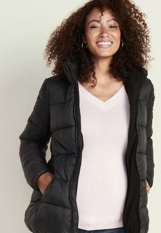 NWT. OLD NAVY Maternity Frost Free Puffer Black Winter Jacket Coat M 480192