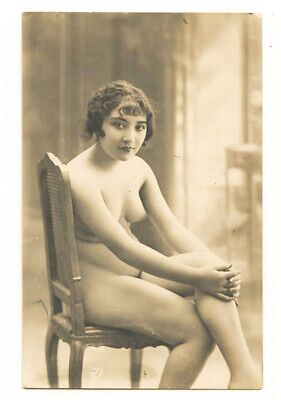 c 1920 French Risque Nude PRETTY WOMAN Lovely Leggy Beauty Lady photo postcard
