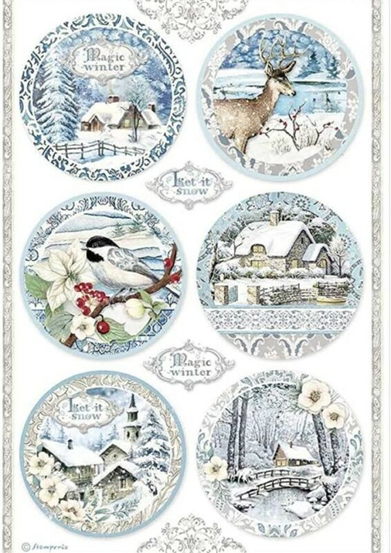Stamperia Decoupage Rice Paper Pack - A4 Sheet - Round Landscapes Winter Tale