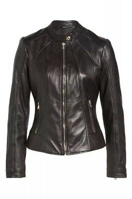 Guess Women's Leather Collarless Jacket $350 Value! For Your Best Moto Look!