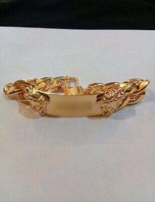 Gold Metal Double Medusa Chain Bracelet