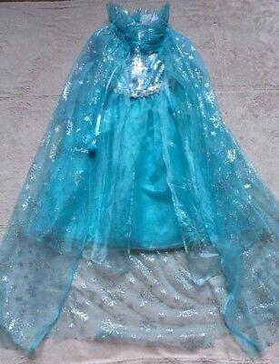 Elsa Frozen Girls Halloween Costume, Size 5-7, Dress, Cape, Gloves, Ice Blue EUC - Elsa Gloves Frozen