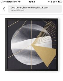 Framed Print Gold Desert in gold and black by Made BRAND new and boxed was £79 sell £30