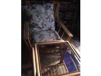 Garden patio set wicker table and 2 chairs