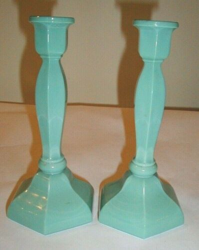 """Candle Holder GILLINDER No. 12 Colonial PAIR Turquoise 9"""""""