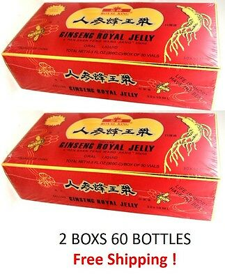 Ginseng Royal Jelly Extract 2 Boxs 60 Bottles  Extra Strength Energy 2000Mg