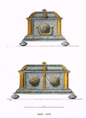 "Chromolithograph of MIDDLE AGES - ""FILIGREED CHEST"" by Hefner-Alteneck in 1840"