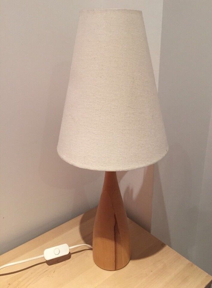 Pine bedside/table lamp with cream shade