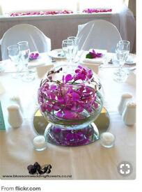 Round fishbowl glass vases