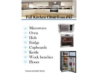 Full kitchen clean from £45 oven microwave fridge hob cupboards floors
