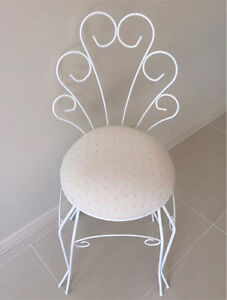 Wrought iron chair.  Painted in white with pink polka dot upholstery. Sylvania Sutherland Area Preview