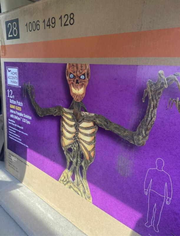 12ft Giant Inferno Pumpkin Head Skeleton With Life Like Eyes