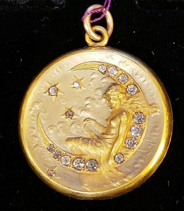 Antique Wightman Hough Rhinestone Locket Nouveau Lady Crescent Moon Stars ☪️ NWT