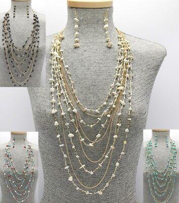 Statement Layered Stone Beaded Bead Necklace Long Bib Set Shell Design (Design Shell Beads Necklace)