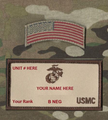 MARSOC USMC ID NAME TAPE: Custom Embroidery Name/Rank/B- NEG/Unit + Flag Tab