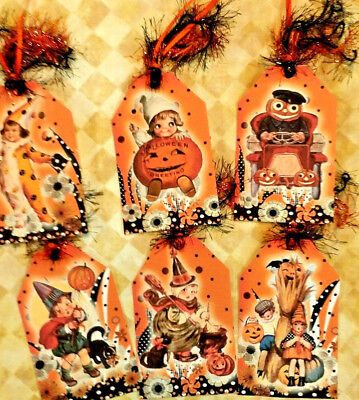 6 Halloween Kids~Vintage~Gift Hang Tags~Scrapbooking~Card Craft Embellishments ](Halloween Kids Gifts)