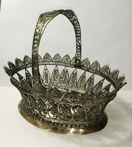 Antique Sterling Silver Filigree Basket 19th century BEAUTIFUL!