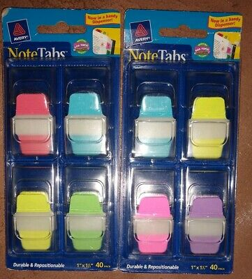 2 X Avery Notetabs 1 X 1.5 Note Tabs Mini Thick Dispenser Assort Neon 40 Pk