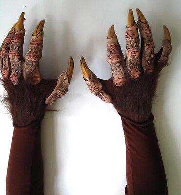 Halloween Werewolf Gloves (Beast Werewolf Haunted House Halloween Gloves Brown Zagone Studios Made In)