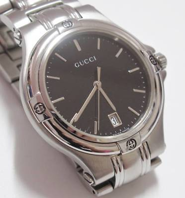 34200b1210b Vintage Gucci 9040m Midsize Black Dial 35mm Stainless Steel Quartz Watch  TP066A