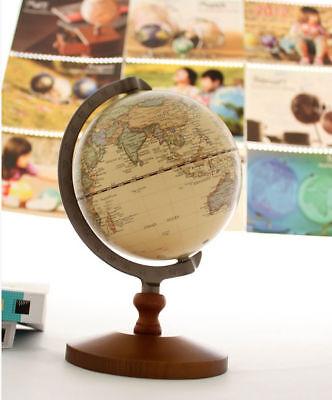 14cm  Home Decor Atlases Map Vintage Wood World Globe Educational Model F Gift