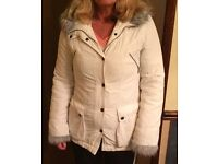 WHITE PADDED JACKET WITH HOOD SIZE 10 (FROM PRINCIPLES)
