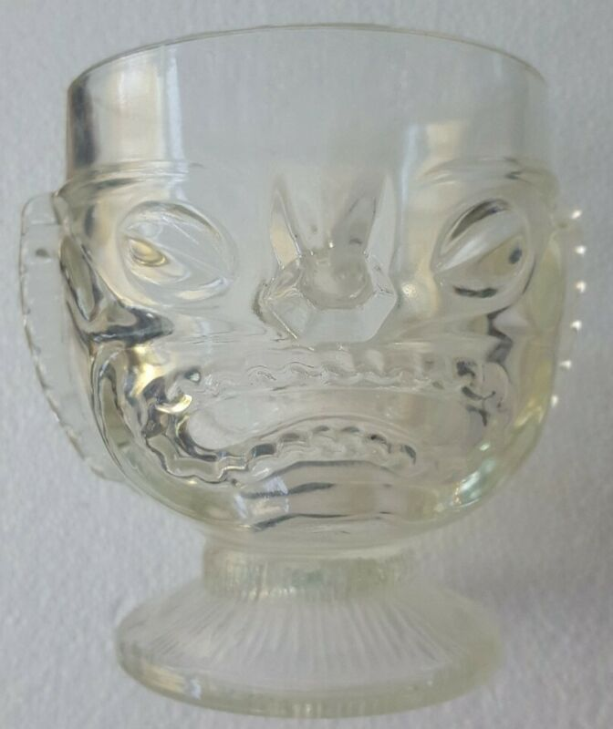 Vintage Tiki Hawaiian 2 Sided Clear Face Mai Tai Glass Mug Cup Happy Sad Face