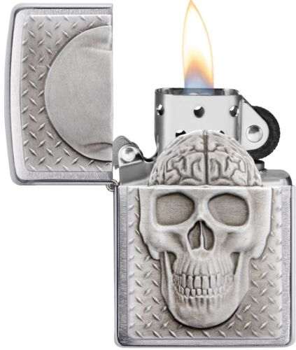 Zippo Skull Reveal Brushed Chrome With Hidden Brain Windproof Perfect Gift 29818
