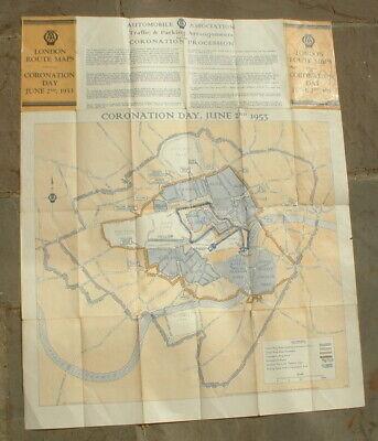 ORIGINAL 1953 QE2 QUEEN ELIZABETH CORONATION LONDON ROUTE MAP