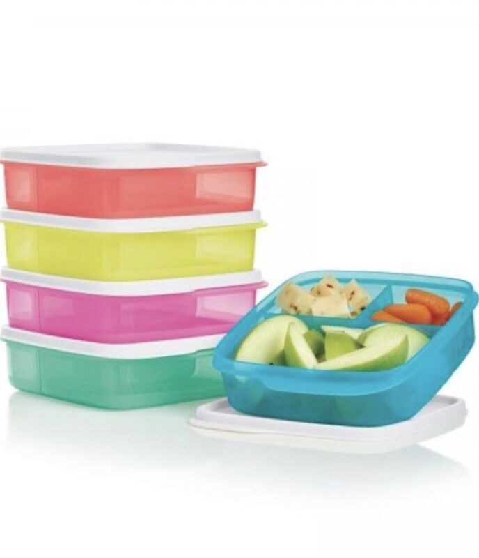 TUPPERWARE LUNCH IT CONTAINERS DIVIDED SEPARATED COMPARTMENTS MULTI COLORED NEW