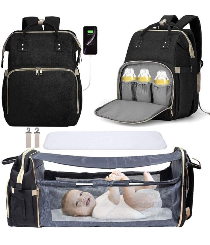 3-1 travel bassinet Foldable baby bed,portable diaper changing station mummy bag