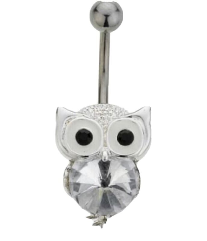 Stainless+Steel+Crystal+Owl+Belly+Bar