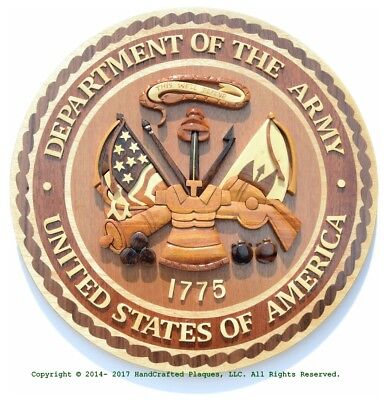 DEPARTMENT OF THE ARMY - U.S. ARMY SEAL - Handcrafted Wooden Military Plaques
