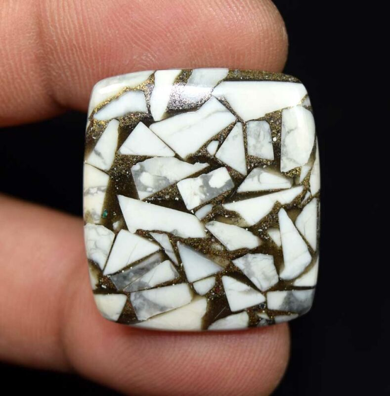 28.45 Cts. Reconstructed Copper White Howlite Cushion Cabochon Loose Gemstone