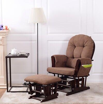 Baby Nursery Relax Rocker Rocking Chair Glider & Ottoman Set w/ Cushion Espresso