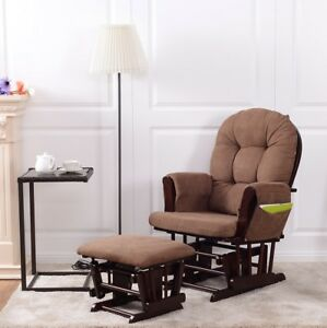 Baby Nursery Relax Rocker Rocking Chair Glider Ottoman Set W Cushion Espresso
