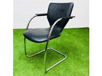 Orange box black leather meeting chair