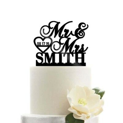Modern Wedding Cakes - Custom Personalized Mr and Mrs Name Date Heart Modern Wedding Cake Topper
