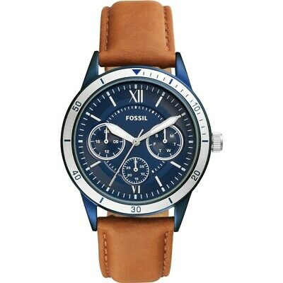 Fossil Men's Flynn BQ2316 43mm Blue Dial Leather Watch