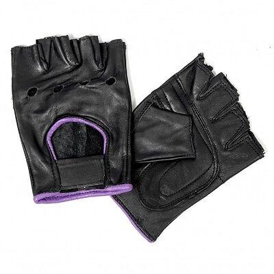 Ladies Leather FINGERLESS Purple Piping Gloves Motorcycle Biker Driving Womens