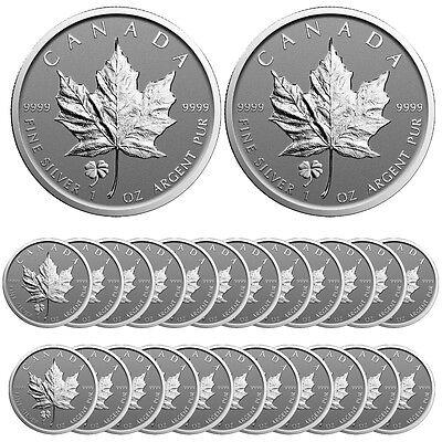 2016 Four Leaf Clover Privy Canadian Silver Maple Leaf Reverse Proof (Lot of 25)