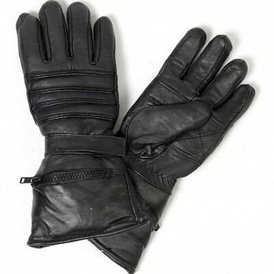 Heavy Leather GAUNTLET Gloves Motorcycle Biker Thermal Lined Riding RAIN MITTEN - Gauntlet Gloves