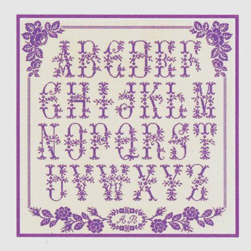 Grille point de croix ab c daire aux roses anciennes r f 1013 ebay - Grille abecedaire point de croix ...